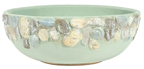 Burley Clay Handpainted Riverstones Indoor / Outdoor Low Planter, Perfect For Succulents - Sage (Bowl Riverstones)