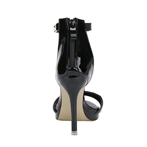 Fereshte Donna Classico Open Toe Ballerino Stiletto Tacco Alto Cinturino Alla Caviglia Sandali N.588 Nero