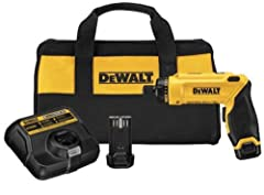 The DEWALT DCF680N2 8V MAX Gyroscopic Screwdriver 2 Battery Kit features motion activation which allows the user to control variable speed, along with forward and reversing action by simply twisting the tool left or right. Motion activated va...