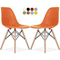 Eames Style Chair by La Valley - Set Of 2 - Mid Century Modern Eames Molded Shell Chair with Dowel Wood Eiffel Legs - for Dining Room, Kitchen, Bedroom, Lounge - Easy-Assemble & Clean - Orange