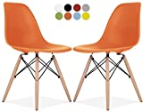 Le Vigan Eames Style Chair by Set Of 2 - Mid Century Modern Eames Molded Shell Chair with Dowel Wood Eiffel Legs - for Dining Room, Kitchen, Bedroom, Lounge - Easy-Assemble & Clean - Orange