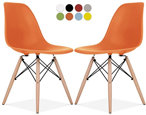 Le Vigan Eames Style Chair by Set Of 2 - Mid Century Modern Eames Molded Shell Chair with Dowel Wood Eiffel Legs - for Dining Room, Kitchen, Bedroom, Lounge - Easy-Assemble & Clean - Orange by Le Vigan