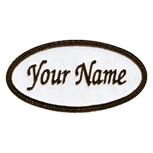 Oval Custom Embroidered Name Tag Sew On Patch -