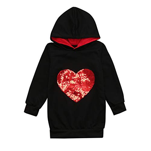 (Toponly Mommy& Me Long Sleeves Heart Type Hooded Sweatshirt Family Matching Clothes)