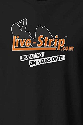 Herren T-Shirt schwarz | Rundhals-Ausschnitt | Kurzarm-Shirt | Live-Strip Jeden Tag ein neues Date | 100% Baumwolle