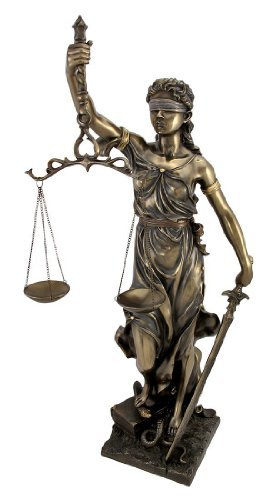 Top Collection Large 30-inch Tall Lady Justice Statue Sculpture in Cold Cast Bronzed Resin ()