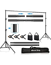 MOUNTDOG 2M x 3M/6.5ft x 10ft Photo Backdrop Stand Kit Photography Studio Background Support System with 3 Clamps Carrying Case Heavy Duty Stand for Video Shooting Portrait