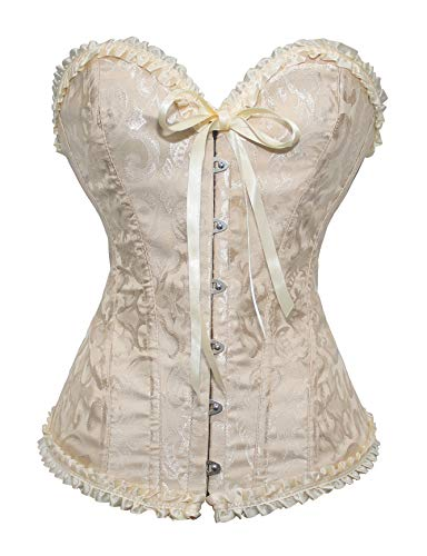 SHAPERX Camellias Women's Lace Up Corset Sexy Boned Plus Size Overbust Bustier Bodyshaper Top,SZ1070-Beige-L ()