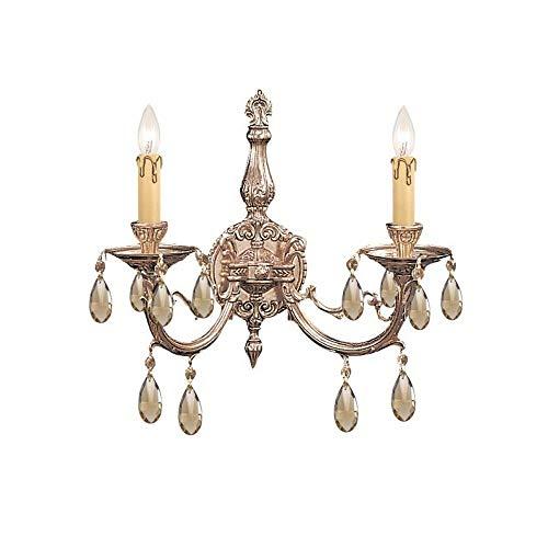 492-OB-GT-MWP Etta 2LT Wall Sconce, Olde Brass Finish with Hand Cut Golden Teak Crystal
