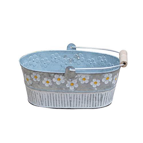 Flower Pot, Vintage Daisy Embossed Garden Metal Tin Bucket Planter Pots with Handle Retro Home Decoration Wedding Window