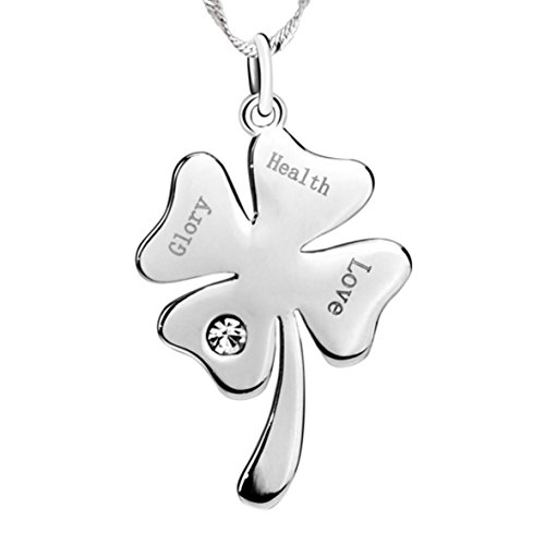 Clovers Cheer Costume (Good Luck Four Leaf Clover - Love, Health, Glory and Bright Sterling Silver Pendant Necklace)