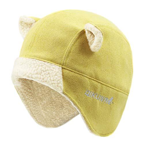 LKIUYN Women Russian Faux Cashmere Hat Cap Kawaii Earflap Cat Ear Winter Fleece Snow Ski Cap Yellow One Size from LKIUYN