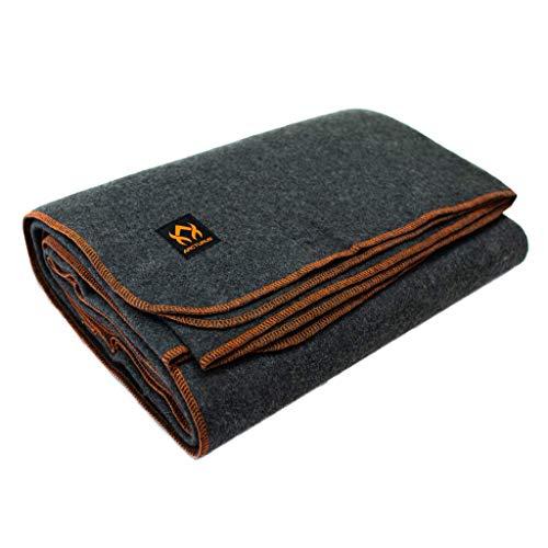 Arcturus 80% Heavy Military Wool Blanket – 4 lbs, Warm, 64″ x 88″ (Military Gray)