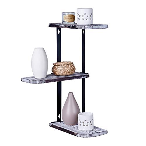(Corner Shelf Wall Mount - Floating 3-Tier Wooden Bookshelf Display Shelves - Shelving Storage Organizer for Kitchen Bedroom Bathroom - Solid Pine Wood & Metal Bracket - Rustic Farmhouse Home Decor)