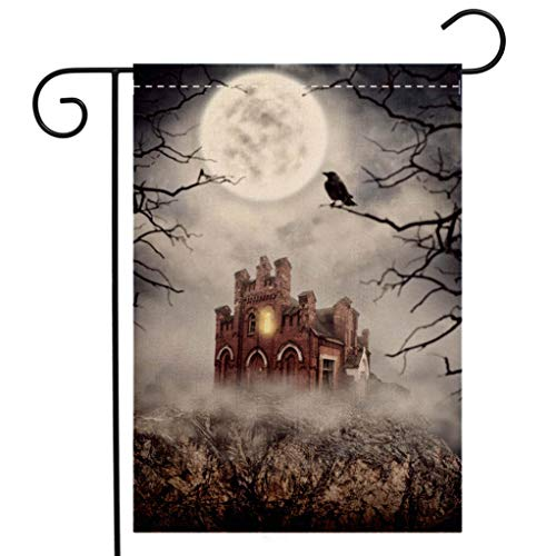 BEIVIVI Creative Home Garden Flag Haunted Abandoned House on The Rock Halloween Scene Welcome House Flag for Patio Lawn Outdoor Home Decor