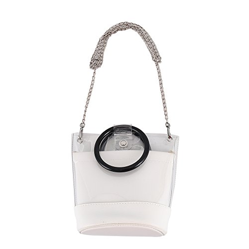 Messenger Coross Handbag Lady Clear Hootecheu White Portable Transparent Girls Body Shoulder PVC Bag Tote Bags Bag Bags Jelly Women Bag qd6IYP6w