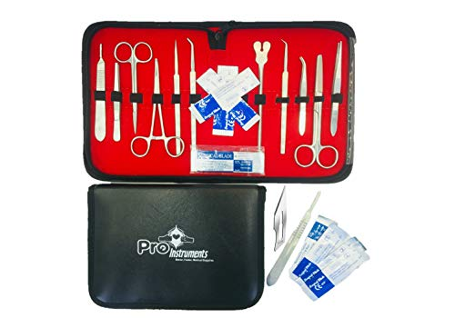 22 Pcs Advanced Lab Anatomy Medical Student Dissection Kit Set with Scalpel Knife Handle Blades & Leather Case by Pro Instruments