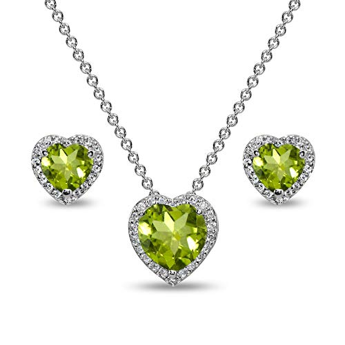 Diamond Peridot Jewelry Set - Sterling Silver Peridot and CZ Halo Heart Pendant Necklace & Stud Earrings Set