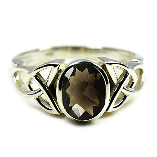 55Carat Choose Your Color Natural Oval Gemstone Sterling Silver Statement Ring Handamde Jewelry Size 5-13 (Faceted Ring Oval Quartz Smoky)