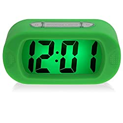 DRFUNDA Smart Simple Silent LCD Digital Large Screen Alarm Clock Snooze/Light with Silicone Protective Cover (Green)