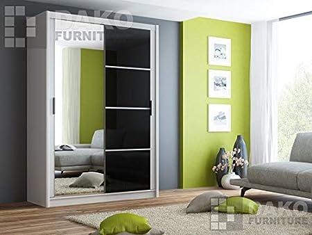 Armario con puerta corredera con espejo, Brandon, en blanco y negro, 150 cm de ancho: Amazon.es: Hogar
