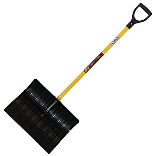 Commercial Snow Shovel with Fiberglass Handle (18 Inch Blade, 44 Inch Handle)