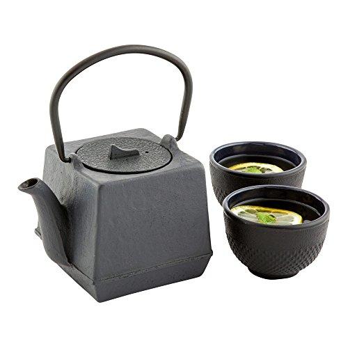 (Tetsubin Teapot, Cast Iron Teapot - Cube - 27 oz - Black - 1ct Box -)