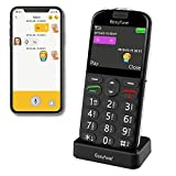Easyfone Prime-A4 GPS Localisation Unlocked Smart Senior Cell Phone, Big Button Hearing Aids Compatible Easy-to-Use Mobile Phone with Charging Dock (Black)