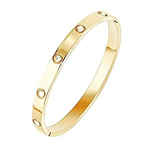 FHMZ(TM) Stainless Steel Designer Inspired Screw Head Oval Bangle Bracelet for Men & Women by FHMZ