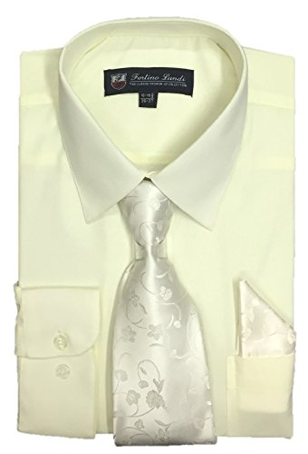 FORTINO LANDI Men's Long Sleeve Dress Shirt With Matching Tie And Handkerchief (16-16.5