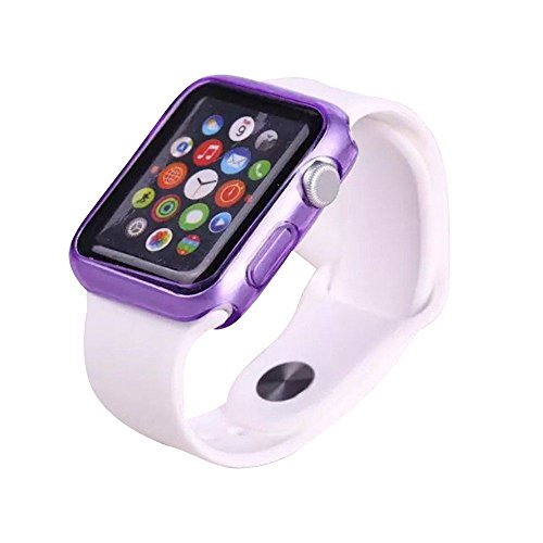 Apple iWatch 42mm Bumper Skin Hybrid Sleeve Protective Case Shockproof Crystal Ultra Thin Rugged Protect Guard Flexible Series 1 & 2 Lightweight Colored Watch Shell [Transparent Tpu Gel] (Purple)