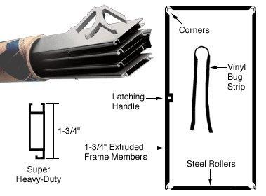 Clear Anodized 37'' x 97'' Heavy-Duty Extruded K.D. Sliding Screen Door Kit - 1-3/4'' Frame
