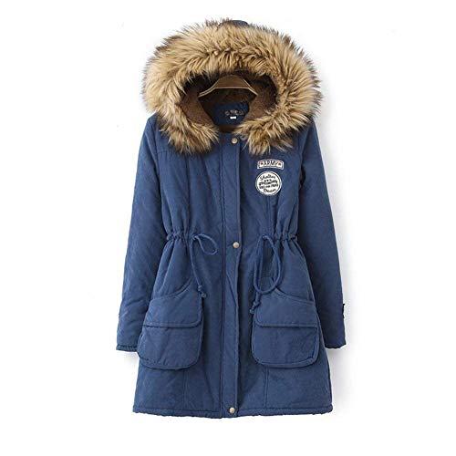 Especial d'hiver Manteaux vestes matelassée élégante glissière longues poche femme mode Estilo veste fermeture à Blau casual doublée fermeture chaude automne capuche manteau manches avec zddw0r4q