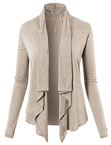 H2H Womens Oversized Soft Long Sleeve Open Front Draped Fly Away Cardigan Taupe US 3XL/Asia 3XL (CWOCAL074) ()