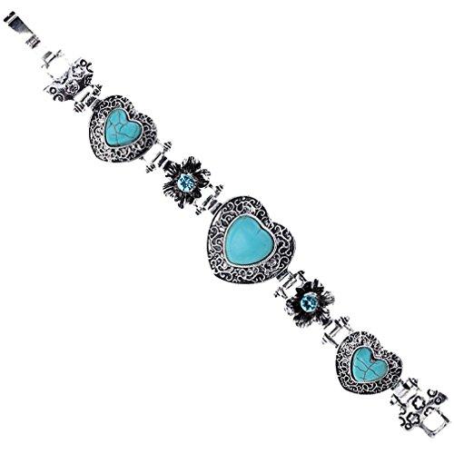 Bangle Tibetan Silver (YAZILIND Vintage Carved Flower Tibetan Silver-plated Blue Heart Bangle Bracelet)