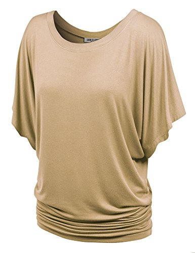 WT742 Womens Boat Neck Short Sleeve Dolman Drape Top M Taupe from Lock and Love