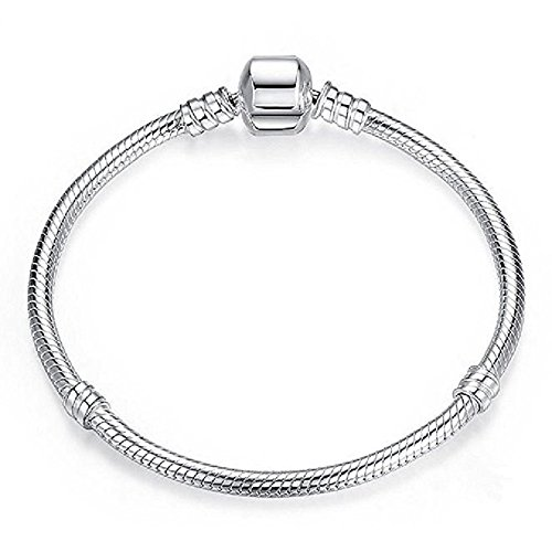 GemStorm Double Silver Plated Round Snap Clasp Started Charm Bracelet For European Charms (Available All Size) (7.5)