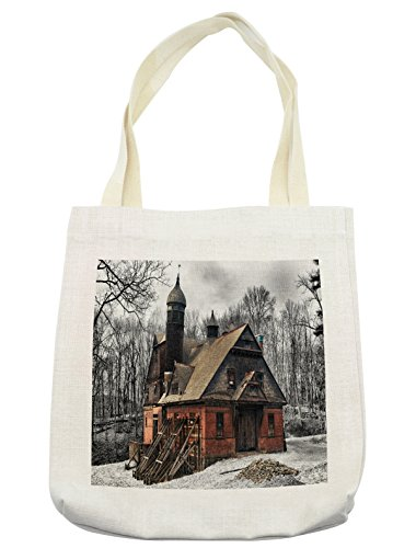 Lunarable Winter Tote Bag, Little Wooden Old Vintage Design Lumberjack House Coveren in Snow in Forest, Cloth Linen Reusable Bag for Shopping Groceries Books Beach Travel & More, (Lumberjack Costume Images)
