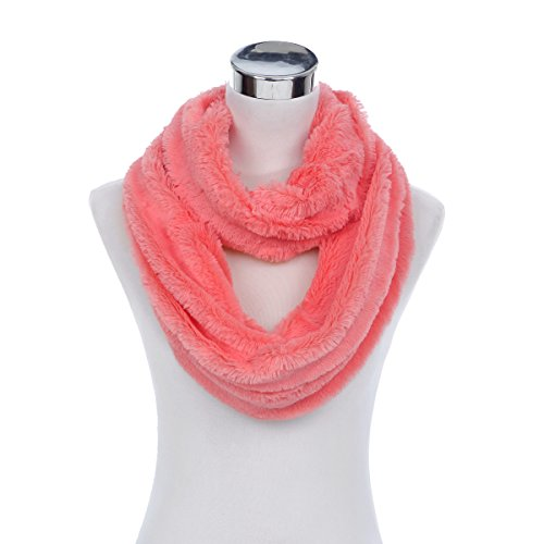 Super Soft Faux Fur Solid Color Warm Infinity Loop Circle Scarf Hot Pink