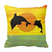 pillow perfect Mother and Baby Dolphin at Sunset Pillowcases Personalized 18x18 inch Square Cotton Throw Pillow Cover Twin Sides