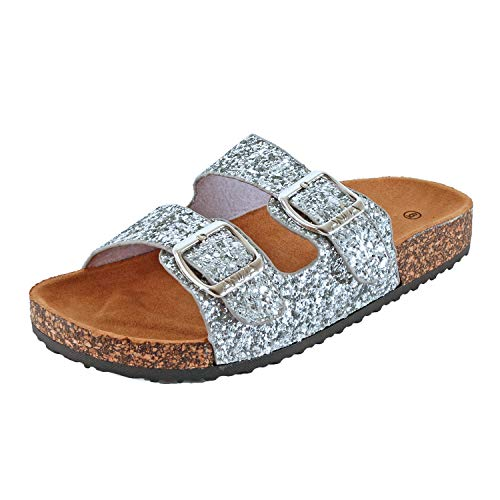 (Womens Slippers Double Strap Easy Slip On Flip Flops Thong Casual Slides Sandals Flats (7 M US, Silverv2 Glitter))