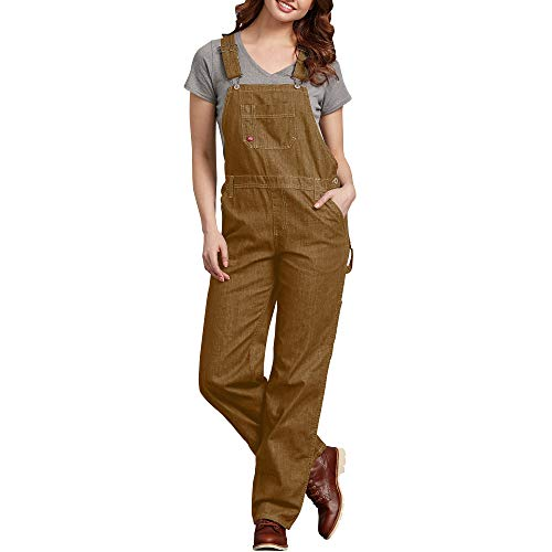 Dickies Women's Bib Overall, Rinsed Brown Duck, Extra Small