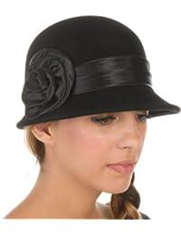 Sakkas Betty Vintage Style Wool Cloche Hat