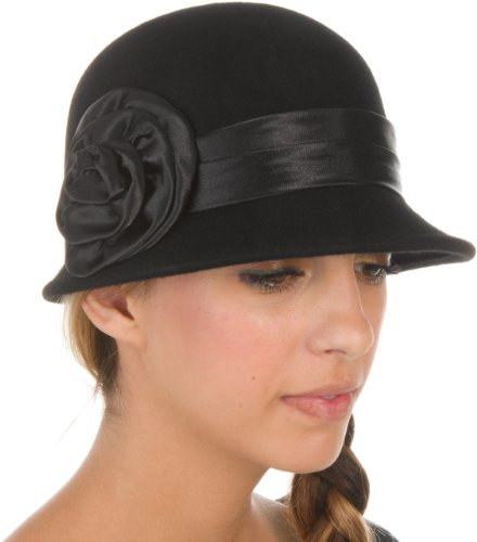 Black Satin Cloche Hat (EH2941LC - Sakkas Womens Vintage Style 100% Wool Cloche Bucket Bell Winter Hat with Satin Flower Accent - Black/One Size)