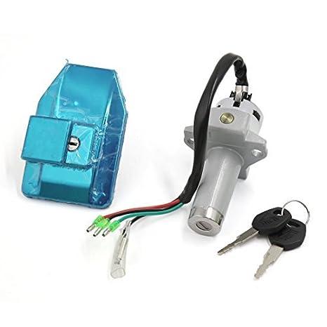 eDealMax motocicleta 4 Cables de la puerta de bloqueo eléctrico del tanque de Combustible tapa de