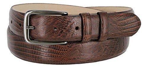 Hagora Women's Real Leather Alligator Lizard Skin Smooth 30mm Wide Buckle Belt,Lizard Brown 36 ()