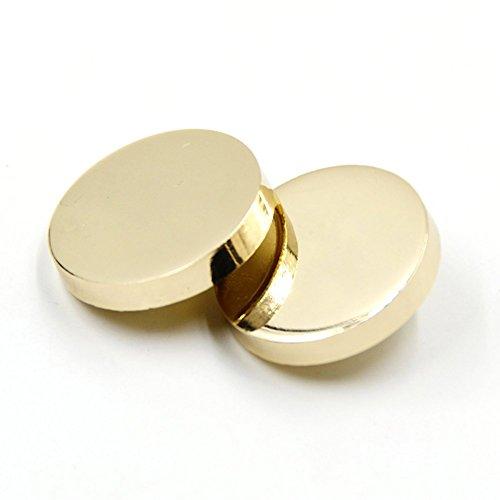 Round Gold Button (10PCS Metal Flat Button Women Suit Woolen Coat Button Male Jacket Button Shirt Suit Trousers Button Round Shaped Sewing Button (15mm, Gold))