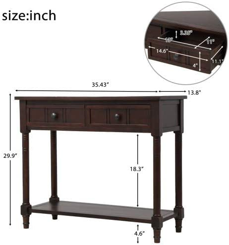 WeYoung Daisy Series Entryway Table for Living Room Wood Console Sofa Table with Drawer and Bottom Shelf Navy