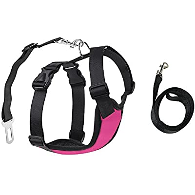 GARDOM No Pull Safety Vest Harness Pet Harness with Car Seat Walking Strap Adjustable for Small Dog Cat 11-30 lb