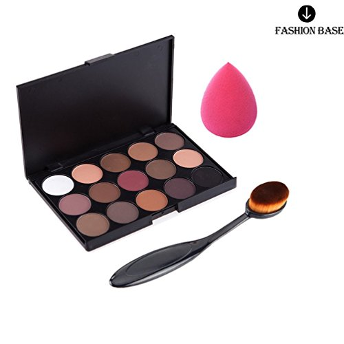 Fashion Base® 15 COLOURS EYESHADOW PALETTE Matte Smokey Eye Effect Neutral Nude/White Highlight/Brown/Black/Chocolate (15Color Eyeshadow #1+ Toothbrush with Free Puff)